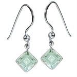 3.42ct. Natural Green Amethyst 925 Sterling Silver Dangle Earrings