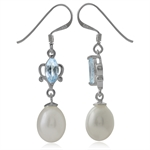 Natural White Pearl & Blue Topaz 925 Sterling Silver Dangle Earrings