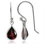 2ct. Natural Garnet 925 Sterling Silver Drop Dangle Hook Earrings