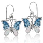 Mosaic Pink Mother of Pearl (MOP) 925 Sterling Silver Butterfly Dangle Earrings