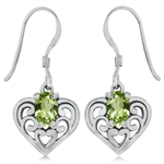 Natural Peridot 925 Sterling Silver Southwest Style Filigree Heart Dangle Earrings