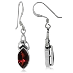 2.34ct. Natural Garnet 925 Sterling Silver Triquetra Celtic Knot Dangle Earrings
