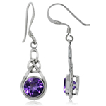 1.48ct. Natural Amethyst 925 Sterling Silver Celtic Knot Drop Dangle Earrings