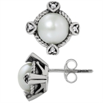 7MM Cultured White Pearl & White Topaz 925 Sterling Silver Stud/Post Earrings
