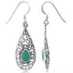 Turquoise Inlay 925 Sterling Silver Flower & Leaf Filigree Drop Dangle Earrings