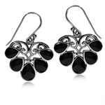Black Onyx 925 Sterling Silver Heart Victorian Style Dangle Earrings