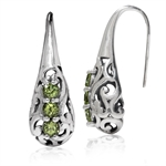 3-Stone Natural Peridot 925 Sterling Silver Victorian Style Hook Earrings