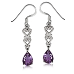 1.24ct. Natural African Amethyst 925 Sterling Silver Victorian Style Dangle Earrings