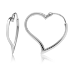White Gold Plated 925 Sterling Silver Heart Shape Hoop Earrings
