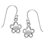 5MM Cultured White Pearl 925 Sterling Silver Flower Dangle Earrings