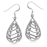 925 Sterling Silver Victorian Style Filigree w/Antique Finishing Dangle Earrings