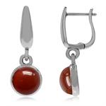 925 Sterling Silver Huggie Hoop Earrings w/ Carnelian Dangle Drop