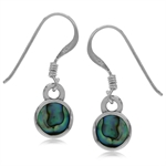 Round Shape Abalone/Paua Shell Inlay 925 Sterling Silver Drop Dangle Hook Earrings