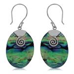 Abalone/Paua Shell Inlay 925 Sterling Silver Swirl Dangle Hook Earrings