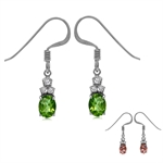Synthetic Color Change Diaspore White Gold Plated 925 Sterling Silver Dangle Hook Earrings