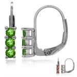 3-Stone Synthetic Color Change Diaspore White Gold Plated 925 Sterling Silver Leverback Earrings