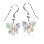 Butterfly Shape AB Crystal 925 Sterling Silver Dangle Hook Earrings