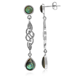 Abalone/Paua Shell White Gold Plated 925 Sterling Silver Celtic Knot Dangle Post Earrings
