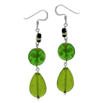 Green Millefiori Glass 925 Sterling Silver Graduate Dangle Drop Hook Earrings