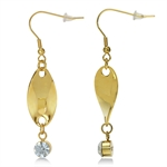 White Crystal Rhinestone Gold Tone Stainless Steel Twisted Dangle Earrings