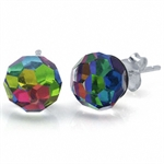 8MM Rainbow Swarovski Crystal Sterling Silver Ball Cut Stud Earrings