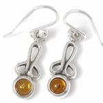 Trendy Honey Amber 925 Sterling Silver Ribbon Dangle Earrings