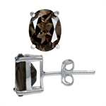 3.32ct. Natural Smoky Quartz 925 Sterling Silver Stud Earrings