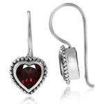 1.92ct. Natural Heart Shape Garnet 925 Sterling Silver Balines Hook Earrings