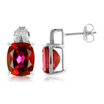 9 CTW CHERRY TOPAZ & DIAMOND White Gold Plated 925 Sterling Silve...
