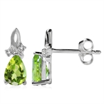 1.54ct. Natural Peridot & White Topaz 925 Sterling Silver Drop Stud/Post Earrings