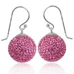 14MM Rose Pink Crystal 925 Sterling Silver Ball Dangle Earrings