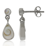 Shiva Shell Inlay 925 Sterling Silver Drop Dangle Post Earrings
