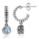 1.16ct Genuine Blue Topaz 925 Sterling Silver Leaf C-Hoop Flower Dangle Earrings
