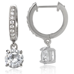 CZ White Gold Plated 925 Sterling Silver Huggie/Hoop Dangle Earrings