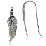 Natural Black Diamond 925 Sterling Silver Feather Hook Earrings
