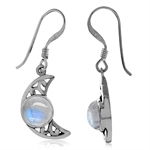 Natural Moonstone Antique Finish 925 Sterling Silver Filigree Crescent Moon Dangle Earrings