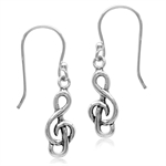 925 Sterling Silver Musical Note/Treble Clef Dangle Earrings