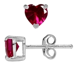 Heart Shape Simulated Red Ruby 925 Sterling Silver Stud Earrings