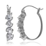 1.12ct. Genuine White Topaz 925 Sterling Silver Journey Hoop Earrings