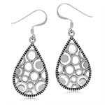 925 Sterling Silver Geometric Filigree w/Antique Finish Dangle Earrings