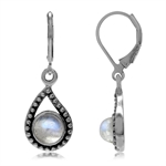 Rainbow Moonstone 925 Sterling Silver Paisley Shape Leverback Drop Earrings