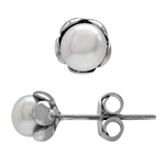 5MM Petite Cultured White Pearl 925 Sterling Silver Flower Stud Earrings