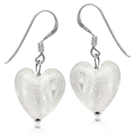 Heart Shape White Crystal 925 Sterling Silver Dangle Hook Earrings