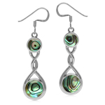 Contemporary Abalone Paua Shell Inlay 925 Sterling Silver Ribbon Knot Dangle Earrings