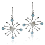 Natural White Pearl & Blue Topaz 925 Sterling Silver Coral Dangle Earrings