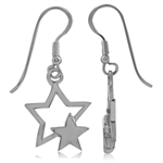 925 Sterling Silver Star Dangle Earrings