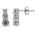 3-Stone White CZ 925 Sterling Silver Post Earrings