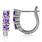 3-Stone Natural Amethyst White Gold Plated 925 Sterling Silver English Hook Earrings
