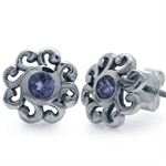 Tanzanite Sterling Silver Swirl Stud Earrings