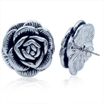BIG Electroform 925 Sterling Silver ROSE Post Earrings